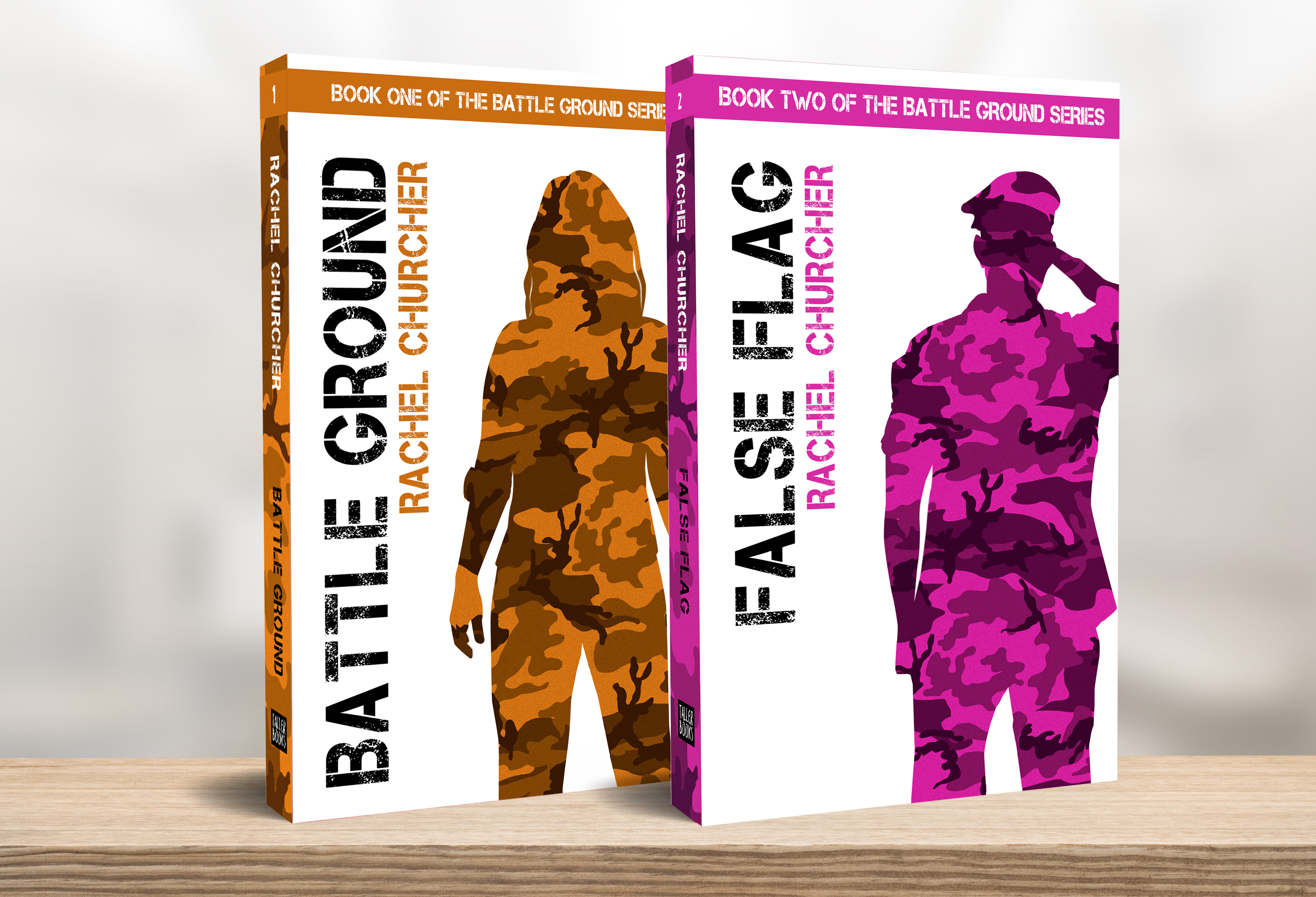 Battle Ground and False Flag on a bookshelf