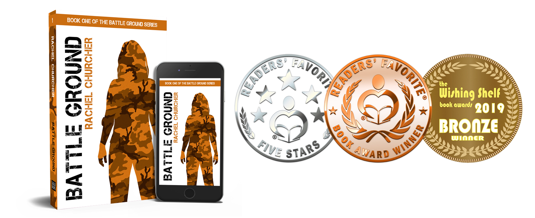 Battle Ground paperback and Kindle editions with three medals